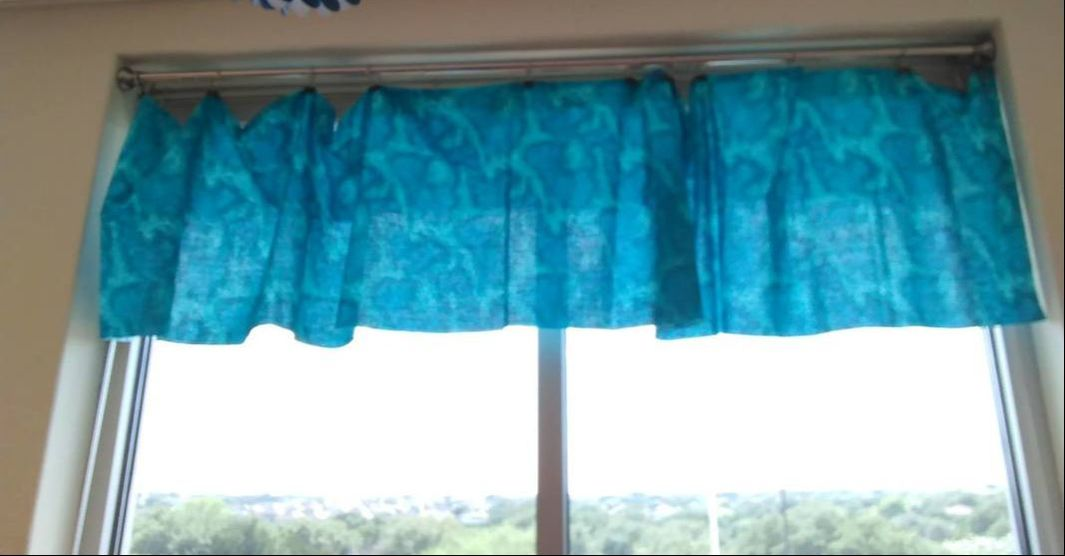 blue fabric class curtains